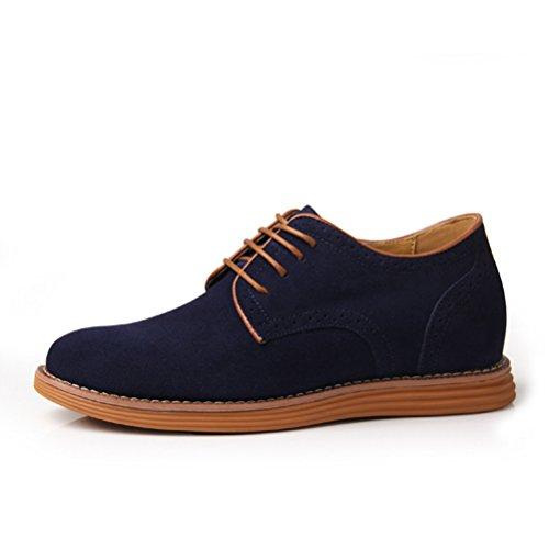 Casuel Chukka chaussure loisir augmentation intérieur haute en cuir véritable de petit taille soulier élevé décontracté tout année homme adulte Bleu