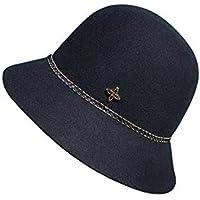 Sombrero de Mujer otoño e Invierno, Lana, cúpula Tejida, Sombrero, Hembra, Japonesa, Simple, pequeña Tapa de Lavabo,Black