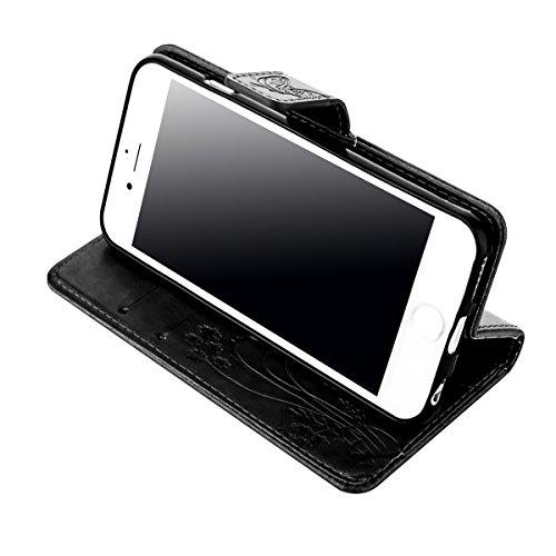 iPhone 6S Plus Coque, iPhone 6 Plus Coque, Lifeturt [ Blanc ] Leather Case Wallet Flip Protective Cover Protector, Etui de Protection PU Cuir Portefeuille Coque Housse Case Cover Coquille Couverture a E02-Noir