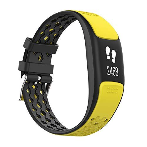 GLDMT P8 Smart Sportarmband, Herzfrequenzmessschritt Bluetooth Mehrere Sportarten, GPS Wasserdichtes Multifunktionsarmband, Unisex,Yellow