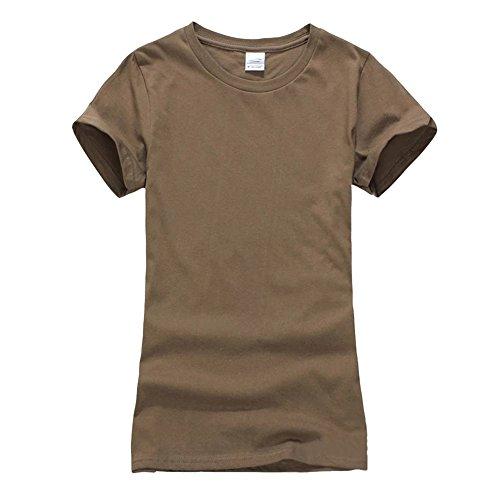 Femmes Couleur unie Courtes T-shirt -Top Décontracté Tee Shirt Brun