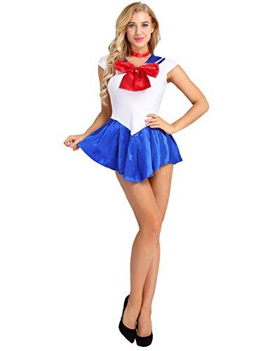 YiZYiF Damen Matrosen Kostüm sexy Schulmädchen Minikleid Matrose Uniform Outfits Set Babydoll Anime Sailor Moon Cosplay Verkleidung Blau XX-Large (Sailor Moon Für Erwachsene Sexy Kostüm)
