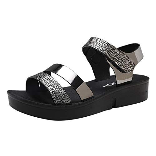 Pointed Toe Wedges Sandalen Knöchelriemen Reißverschluss Schuhe Geschlossene Ballerinas(Schwarz,40EU) ()