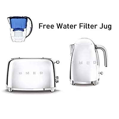 Smeg KLF03SSUK 1.7Ltr - 3kw Kettle and TSF01SSUK 2 Slice Toaster Set in Polished Stainless Steel