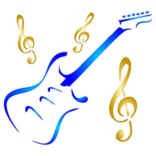 Gitarre Schablone-wiederverwendbar Musikinstrument Violinschlüssel Musik Schablonen für Malerei-zur Verwendung auf Papier Projekte Scrapbook Tagebuch Wände Böden Stoff Möbel Glas Holz etc. m (E-gitarre-projekte)