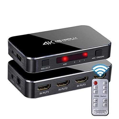 Egurs 4 in 1 Out HDMI Switch, 4K @ 60Hz Ultra HD HDMI Switch mit Optischem TOSLINK SPDIF,3.5mm Audio Umschalter ARC Funktion,3D, 1080P @120Hz, 4K*2k @60Hz HDTV -IR Drahtlose Fernbedienung