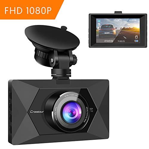 """Crosstour Cámara De Coche 1080P Full HD,Dash CAM 12MP 3\"""" Pantalla con 170° Gran Ángulo, WDR, G-Sensor, Grabación en Bucle y Detección de Movimiento CR300"""
