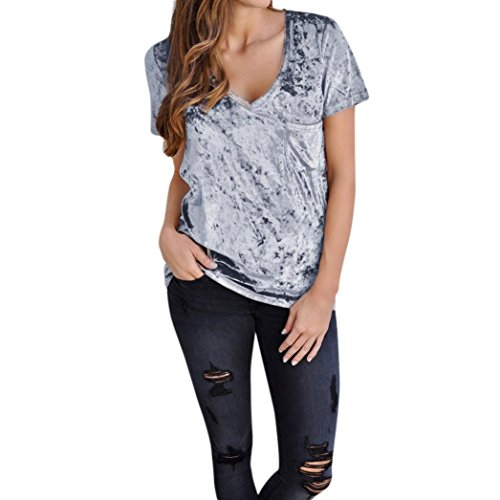 Damen T-Shirt, VEMOW Frauen Sommer Kurzarm V-Neck Tops Samt Grau Mode Pop Bluse (Damen Junge T-shirt V-neck)