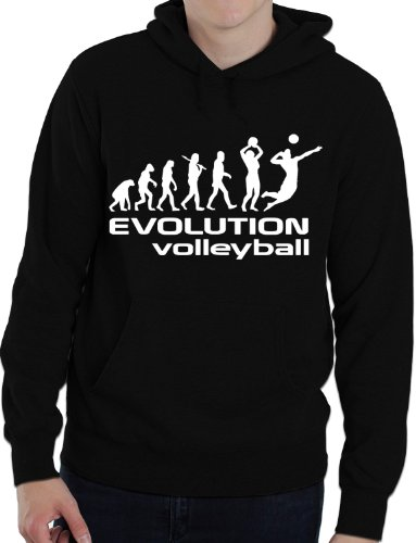 Print4U Evolution of Volleyball Erwachsene/Herren/Damen Hoody Gr. S-XXL Gr. X-Large, schwarz