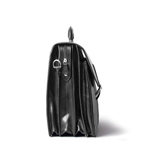 Maxwell Scott Bags® PERSONALISIERT! Große Leder Aktentasche für Herren in Cognac (Tomacelli3) Schwarz