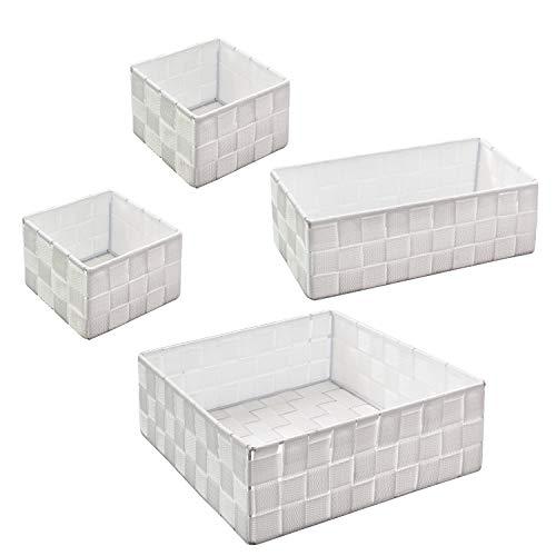 WM Homebase 4er Set Aufbewahrungskörbe geflochten Aufbewahrungsbox Polypropylen Regalkorb Badkorb in Weiß