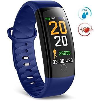 TECKEPIC QS01 Montre Connectée Smartwatch Bracelet Connecté Trackers dactivité Podomètre Distance Calories Cardiofréquencemètre pour