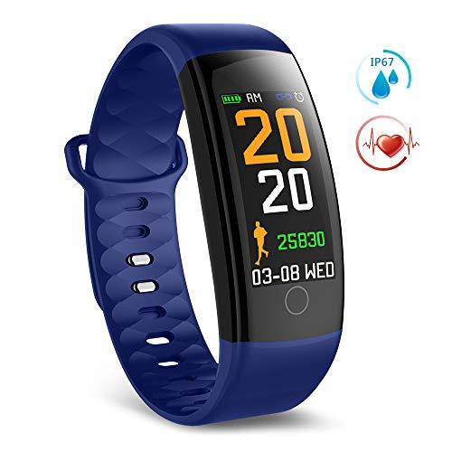 TECKEPIC QS01 Montre Connectée Smartwatch Bracelet Connecté Trackers d'activité Podomètre Distance Calories Cardiofréquencemètre pour iPhone Samsung Android iOS Smartphone (Bleu&Rouge)