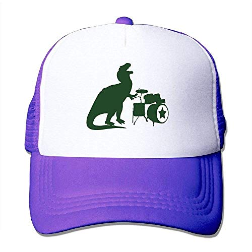 Hoswee Unisex Kappe/Baseballkappe, Men's Mesh Fitted Hat Cap T-Rex Rocking Out on The Drums Outdoor Baseball Hat (Drum Ipad)
