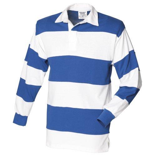 Front Row Klassisches gestreiftes Rugby Polo-Shirt, langärmlig (Large) (Weiß/Königsblau)