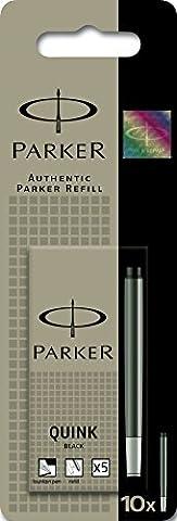 Parker Quink Fountain Pen Refills, Long Cartridges - Black, Pack of (Inchiostro Nero Disegno)