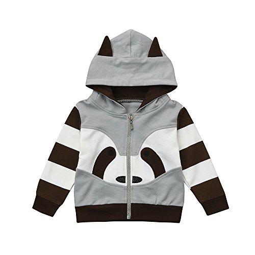 (Yanhoo-Kinder Sweatjacke Herbst Winter Mit Kapuze Jungen Mädchen Langarm Netter Waschbär Kapuzenpullover Mantel Jacke Windjacke Outwear)