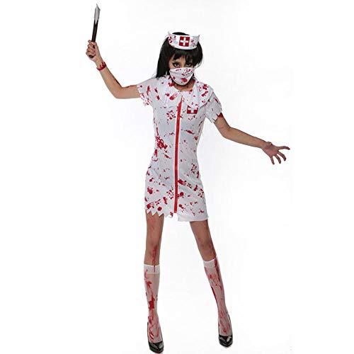 NiQiShangMao Halloween Weiß Bloody Zombie Krankenschwester Kostüm Frauen Männer Paar Erwachsene Scary Doctor Insane Surgeon Kostüme - Scary Kostüm Männer