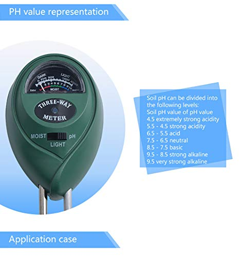 ZUZU Bodentestkit PH-Feuchtemessgerät Pflanzenwasser-Licht Tester Test Kits Gartenpflanzen Boden Hygrometer Boden PH-Meter