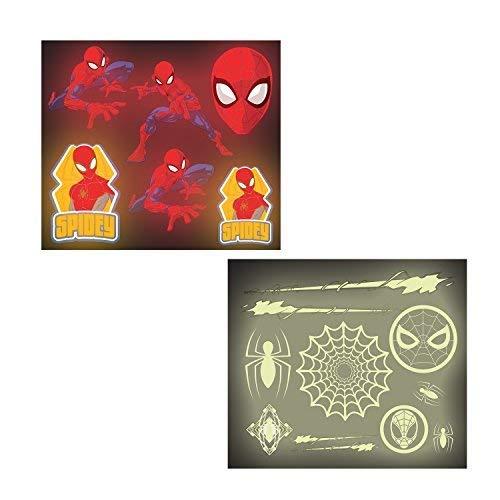 Amscan International 9902784 Spiderman Aufkleber, Glow in the Dark-Stickerset, 16 Bögen (Geburtstag Glow Einladungen)