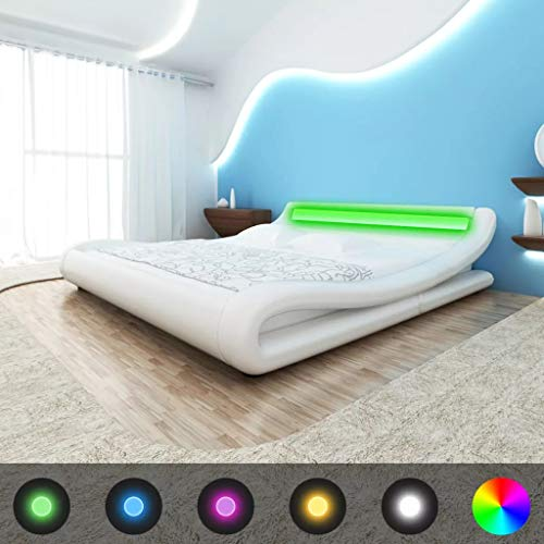 Festnight Bett Holzbett Kunstlederpolsterung Bettgestell Polsterbett Doppelbett mit LED Licht und 140x200cm Memory-Matratze Curl Weiß