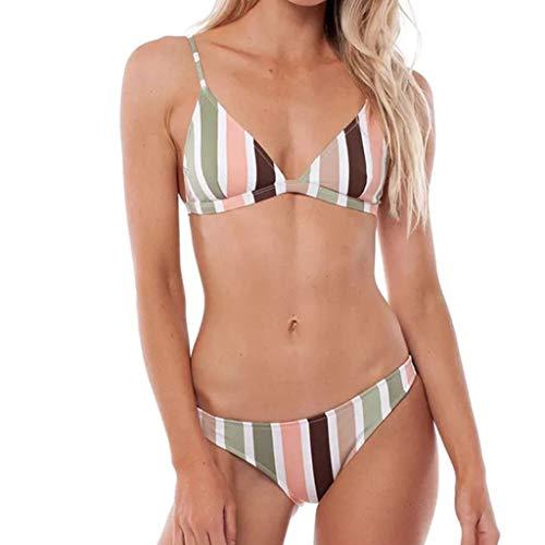 HOT1950s Badeanzug für Damen, Neckholder, Regenbogen-Streifen-Druck, Bandage, Bandeau-Bikini-Set mit heißem Unterteil, Tankini-Set, 2-teilig, Badeanzüge für Frauen Gr. M, Mehrfarbig - Low-rise-brasilianischen Stretch-hose