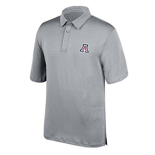 J America NCAA Men's Arizona Wildcats Yarn Dye Striped Team Polo Shirt, X-Large, Cement -