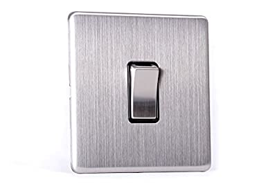 Area 1 Gang Wall On/Off Light Switch Brushed Chrome Finish Screwless - cheap UK light shop.