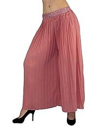 S&LU toller Damen-Hosenrock Culottes mit edlem Pailletten- und Strass - verziertem Bund im Marlene-Stil