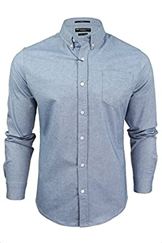 Mens Oxford Shirt by Crosshatch 'Almond' Long Sleeved (Sky Blue) L