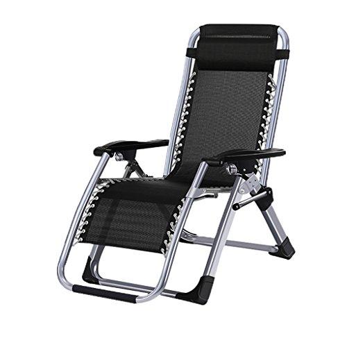 Relaxsessel Folding Recliner Freizeit Camping Liegestuhl Schwerelosigkeit Strand Garten Schlafzimmer Büro Balkon Lager Gewicht 200kg Schwarz