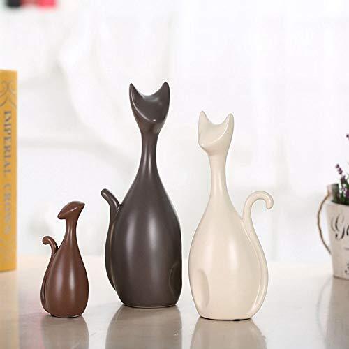 HPYRJ Einfache Moderne Abstrakte Dekoration Handwerk Hotel Dekorationen Happy Cat Family, Hochwertige Keramik Ornamente,A -