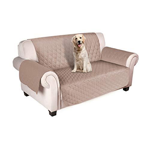 Freesoo copridivano antiscivolo impermeabile fodere copridivano per animali domestici gatti cani protezione del divano 2 posti beige