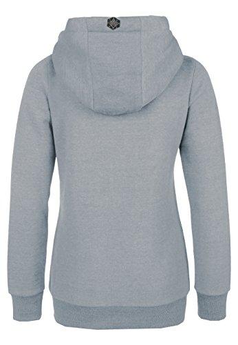 SUBLEVEL Sweatjacke mit Zipper & Kapuze | Cooler Damen Hoodie - schräger Reißverschluss, Uni-farben Light-Grey