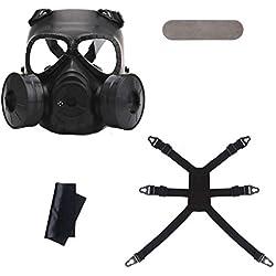 FancyswES8eety Máscara de Gas Caliente Máscara de respiración Etapa Creativa Rendimiento Prop para Equipo de Campo CS Protección de Cosplay Maldad de Halloween