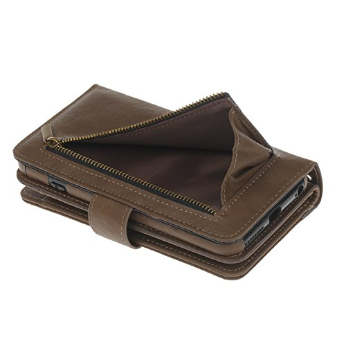 Voguecase Pour Apple iPhone 6 Plus/6s Plus 5,5 Coque,[Zipper Wallet]Etui pratique et original en cuir synthétique, avec fermeture à aimant, housse de protection interne silicon antichoc de qualité, ra Portefeuilles multifonctions-Brun clair