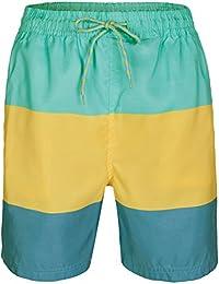 Soul Star Mens Color Block Swim Shorts - Sky/Yellow - Large