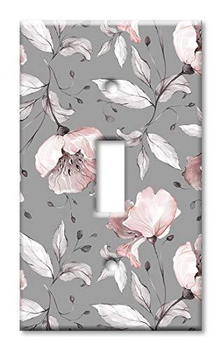 Wandplatte/Schalterplatte, Blumendesign, Grau/Pink Einzel-Kippschalter Mehrfarbig -