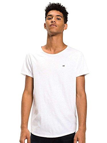 Tommy Jeans Herren Basic  Knit Kurzarm Slim Fit T-Shirt Weiß (Classic White 100) XX-Large -