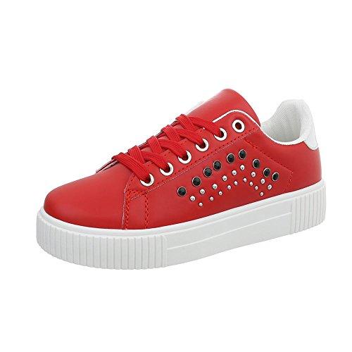 Ital-Design Sneakers Low Damen-Schuhe Schnürsenkel Freizeitschuhe Rot, Gr 39, Xf823-40-