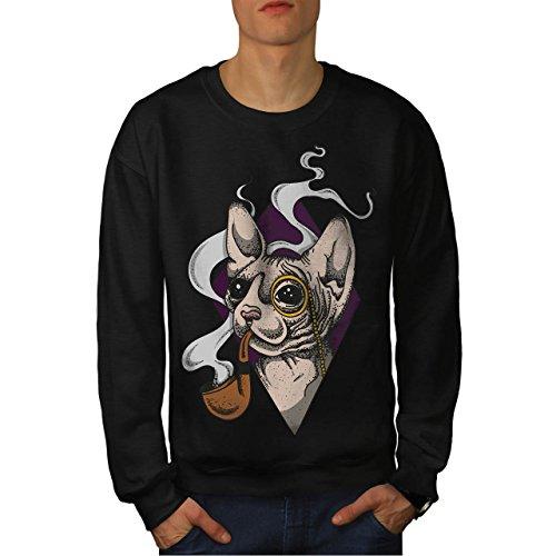 Sphynx Rauch Cool Katze Herren L Sweatshirt | Wellcoda (Katzen Cheetoh)