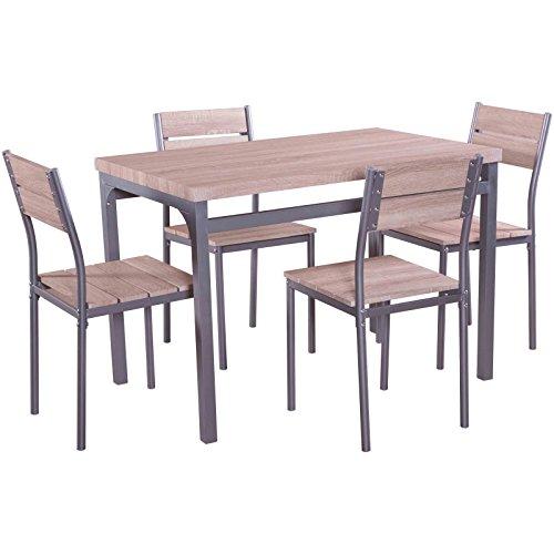 MACOShopde by MACO Möbel Esstischgruppe 5-teilige Sitzgruppe, Essgruppe, Tischgruppe mit 4 Stühlen und Esstisch 110 x 70 cm mit Metallgestell und Holz Dekor