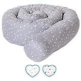 mimaDu Nestchenschlange, Bettrolle (210 x10 cm) Bettumrandung für Baby- und Kinderbett - weich und kuschelig - ÖKO-Tex zertifiziert Sternen Muster (grau-weiss)