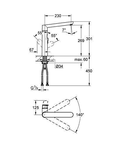 GROHE K7 Küchenarmatur, hoher L-Auslauf, Chrom 32175000 - 2