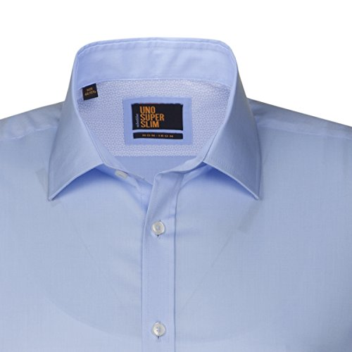 SEIDENSTICKER Herren Hemd Slim 1/1-Arm Bügelfrei Uni / Uniähnlich City-Hemd Kent-Kragen Kombimanschette weitenverstellbar blau (0012)