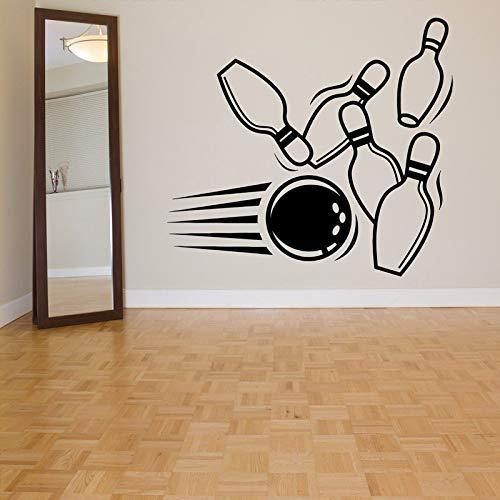 ljradj Bowling Pin Ball Alley Wandaufkleber Für Sport Wohnzimmer Tapete Kunst Dekor Vinyl Wandtattoos Hintergrund Zitate gelb 48X42 cm
