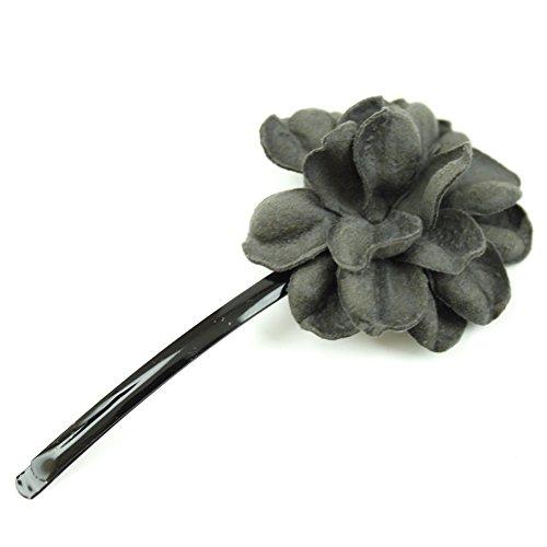 rougecaramel - Accessoires cheveux - Mini pince fleur en cuir véritable - gris/taupe