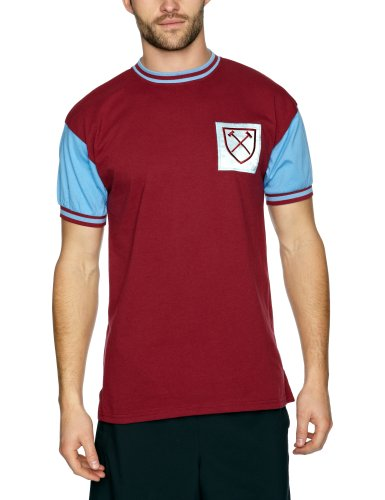 Scoredraw Maillot de football rétro West Ham United 1966 Numéro 6 Claret and Sky moyen