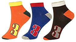 Neska Moda Premium 3 Pairs Mens Cotton Ankle Length Casual Colorful Socks-Orange,Blue,Black