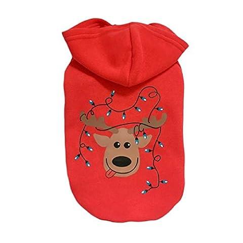 Loveso-Huastier Hunde Kleider Bekleidung Weihnachten Kleidung Kostüm Outwear Mantel-Kleid-Hoodie für Haustier-Hündchen (S, Rot)